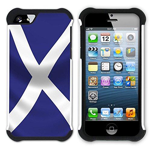 Graphic4You Schottland Schottisch Flagge Hart + Weiche Kratzfeste Hülle Case Schale Tasche Schutzhülle für Apple iPhone SE / 5 / 5S Design #3