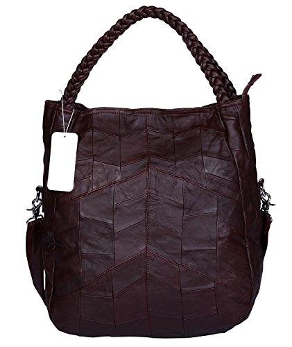 VIDENG Frau Ziegenleder Leder Tragetasche, Original Leder Groß Handtasche Hobo Crossbody Schulter Tasche Schulranzen für Damen (Weinrot-Groß-VW1)