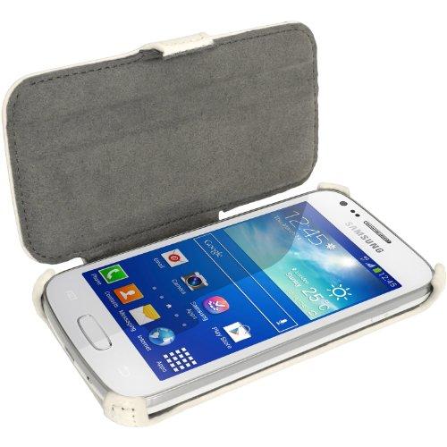 iGadgitz U2747 Housse en Cuir synthétique avec Rabat pour Samsung Galaxy Ace3 S7275S7270et Film Protecteur d'écran, Blanc