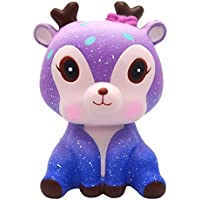 Prevently Creative 11cm Galaxy Cute Deer Cream Scented Squishy Slow Rising Squeeze Strap Kids Toy Gift For Kids and Adults (C4)
