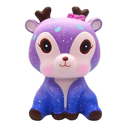 Cooljun Kawaii Cartoon Galaxy Deer Squishy langsam steigende Creme duftende Stressabbau-Spielzeug für Erwachsene und Kinder Weihnachten Geschenk Haus Dekoration (14cm*11.3cm*9.7cm, B)