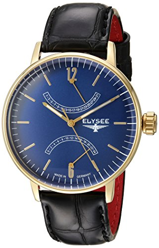 ELYSEE Men's Sithon 42mm Black Leather Band Gold Plated Case Quartz Blue Dial Analog Watch 13291
