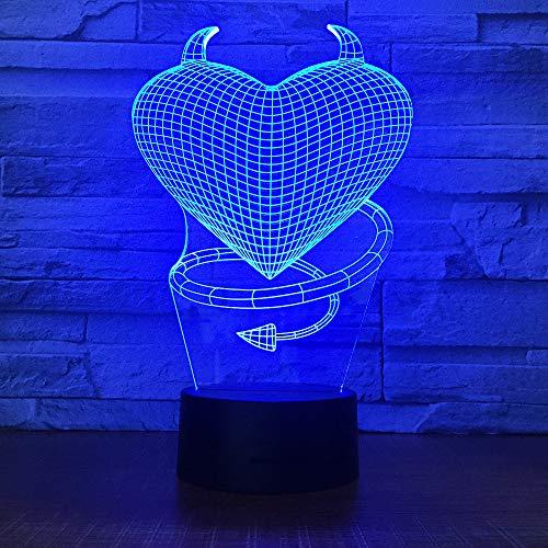 BFMBCHDJ Süßes Liebhaber Herz 3D LED USB Lampe romantisch dekorativ bunt 3d Nachtlicht Freundin Geschenk