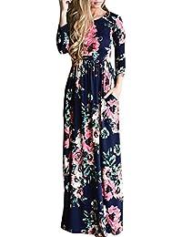 ACHICGIRL Mujer Vestido de Fiesta Maxi Estampado Floral con Mangas Largas