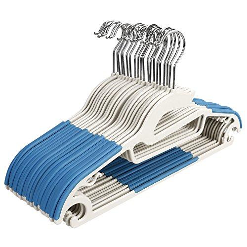 Homdox 20 Stück Antirutsch Kleiderbügel Rutschfester Kunststoff Platzsparend Aufhänger für Anzug/Hemd/Hose Blau