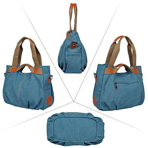 Losmile Women's Vintage Canvas Shopper Totes Top Handle Handbag - Blue