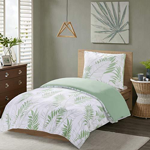 SCM Bettwäsche 135x200cm Grün Weiß 100% Baumwolle Renforcé 2-teilig Bettbezug & Kissenbezug 80x80cm Tropischen Blättern Ideal für Schlafzimmer Tropical Leaves - Baumwolle Blatt
