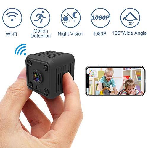 SYOSIN Mini Wi-Fi Microcamere Spia Nascosta, HD 1080P Telecamera Spia Portatile videocamera Nascosta con Rilevamento di Movimento, IR Visione Notturna