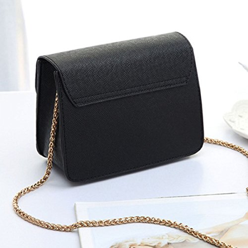 Borsa A Tracolla Mini In Pelle Pu Piccola Con Catena Cellphone 10 Colori Black
