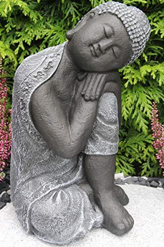 Steinfigur Buddha, Gartenfigur Steinguss Basaltgrau - 7