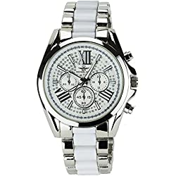 MICHAEL JOHN Women's Watch SILVER WHITE QUARTZ Band CERAMICS WHITE BLACK ANALOGUE