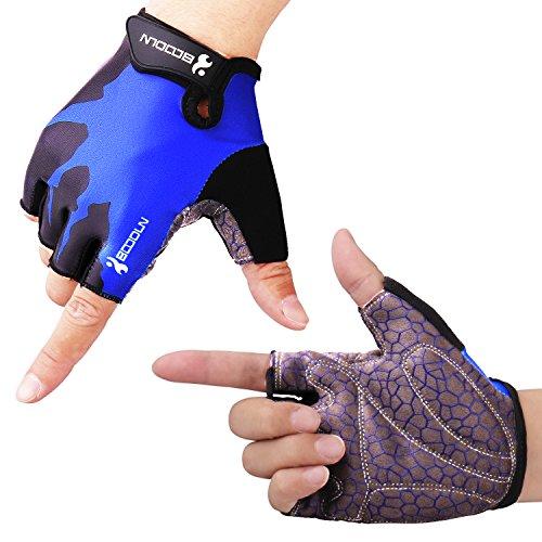 Fahrradhandschuhe Radsporthandschuhe rutschfeste und stoßdämpfende Mountainbike Handschuhe mit Signalfarbe geeiget für Radsport MTB Road Race Downhill Wandern und andere Sports unisex Herren Damen (Blau, M)