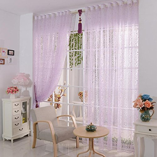 Vorhang DDLBiz® Druck-Blumen-Voile-Tür-Vorhang Fenster Paravent Schal Vorhang (Lila)