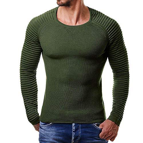 MRULIC Herren Gestreiften Drape Stricken Langarm Top Pullover Sweatshirt Innerwear ()
