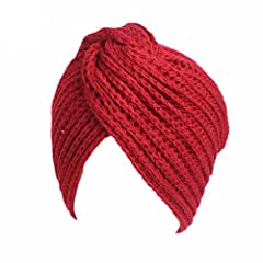 Idea Regalo - Invernale da donna in maglia calda turbante torsione trasversale capelli araba Wrap Hat cappello di Natale Beaniefor ringraziamento della mamma Festa del papà regalo di compleanno rosso vino