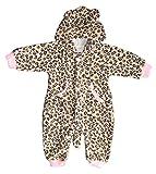 BOMIO Unisex Overall | Kuscheliger Baby-Anzug | Fleece-Overall mit Kapuze | wärmender Winter-Strampler für Babys und Kleinkinder | niedliche Tierdesigns | Katze