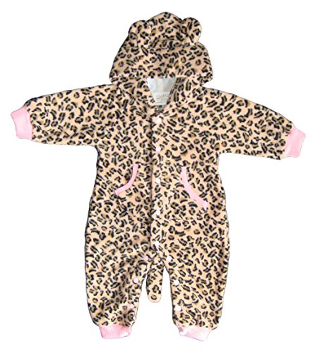 BOMIO Unisex Overall | Kuscheliger Baby-Anzug | Fleece-Overall mit Kapuze | wärmender Winter-Strampler für Babys und Kleinkinder | niedliche Tierdesigns | Katze (Pink Fleece Leopard)