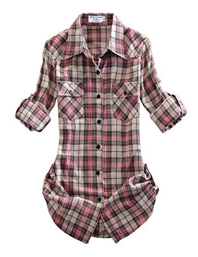 Match Damen Flanell Kariert Shirt #B003(2021 Checks#9,Medium(Fit 35\'\'-37\'\'))