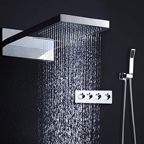 HONGHUIYU Thermostatischer Wasserfall Rain Duschkabine Sets Faucet & Hand Dusche 4 Function Spa Wasserfall Massage Bad Fixture-Duschset
