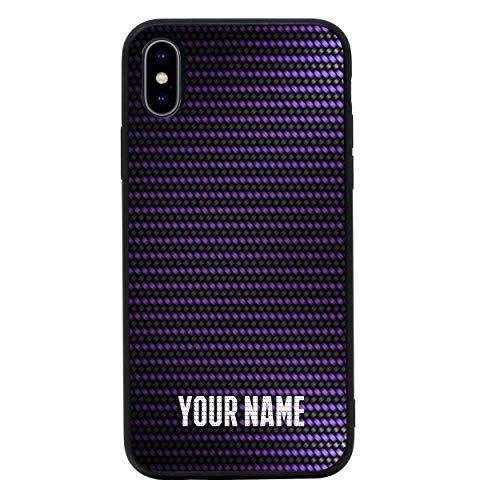 I-CHOOSE LIMITED Personalisiert Dein Name Kohlenstoff-Faser Gehärtetes Glas Zurück Hülle Kompatibel mit iPhone X XS - Telefon Stoßstangenschutz für 5,8 Zoll Bildschirm