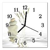 Glasuhr von DekoGlas 30x30cm quadratisch Bilderuhr aus Acrylglas mit lautlosem Quarzuhrwerk Dekouhr Glaswanduhr Uhr aus PMMA Wanduhren Küchenuhr Wanddekoration Glasbilder Steine weiß