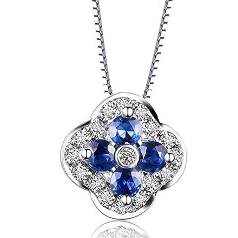 Synthetic September birthstone Lucky Clover 925 Sterling Silver Flower Necklace Pendant for Women Girl 18