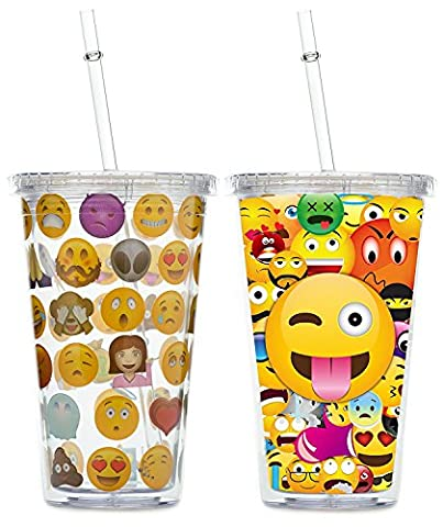 Emoji Tumblers with Straws and Lids Set of 2 -