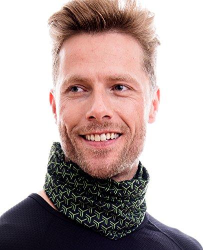 Hilltop Multifunktionstuch, Kopftuch, Motorrad Halstuch, Bandana viele Farben, Farbe/Design:schwarz - grün Ecken