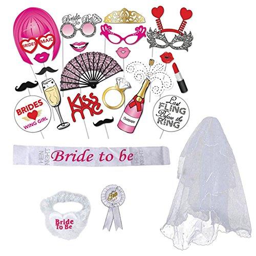 Sopear Braut 4 stücke Braut Party Dekoration Sash Garter Abzeichen Schleier mit 20 stücke Foto Requisiten für Bridal Shower Party Bachelorette Party Versorgung