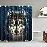 JFSL FSMSK Duschvorhang Wolf Kopf Muster Wasserdicht Schnell Trocknend Umweltschutz Materialien Metall Hook Up Loch Up Duschvorhänge (Größe: 180 * 200 cm)