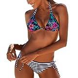 NiSengs Damen Neckholder Bikini Bandeau Bademode Push Up Swimsuits Frauen Swimwear XL