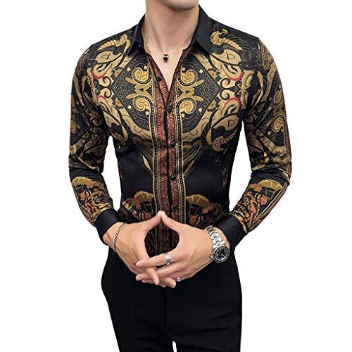 QINJLI Herrenhemd Mit Langen Ärmeln Formelle Passform Gericht Retro Print Schwarz Slim Cardigan Knöpfe Lapels Prom Party Dress Shirts Luxuriös Und Elegant Passen Sie Ihren Anzug (M-4XL) (Color : 3XL)