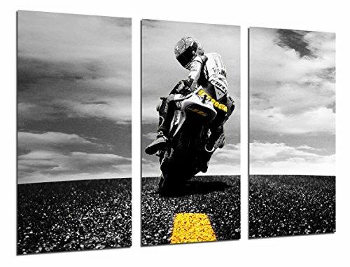 Cuadros Camara Poster Moderno Fotografico Moto de Carretera, Motorista, Amarillo, 97 x...