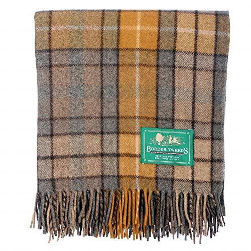 Natürliche Wolle Teppich (The Scotland Kilt Company Neu BNWT Schottische Überwurf Groß Wolle Tartan Teppich - Palette von Schottenkaros/Farben - Buchanan Natürlich, One Size)