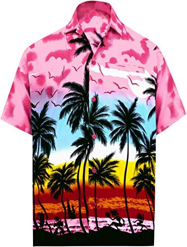 LA LEELA männer Hawaiihemd Kurzarm Button Down Kragen Fronttasche Beach Strand Hemd Manner Urlaub Casual Herren Aloha Rosa_274 M Likre 999