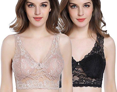 9bfc91b36a461 Intimate Portal All Over Lace Full Coverage Non-Wired Bralette Negro Beige  (PK de