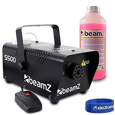 Beamz s-500 Watt Remote Control Smoke Machine & 1 litre High Quality Red Fluid