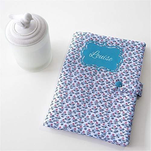 Protège carnet de santé fille - Personnalisable avec le prénom - Liberty bleu - Cadeau de naissance - Fait main - Cadeau d'anniversaire - Cadeau de baptême - Cadeau de Noël - Cadeau baby shower