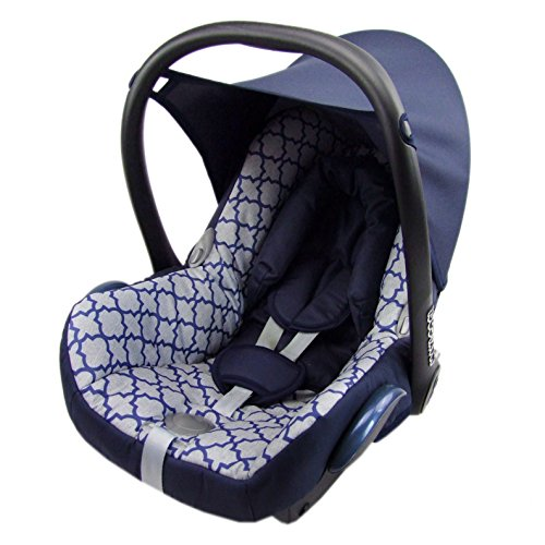 Babys-Dreams Ersatzbezug für Maxi-Cosi CabrioFix 6 tlg. MARINE + HELLBLAUEN MUSTER *NEU* Bezug für Babyschale Sommerbezug Cabrio Fix
