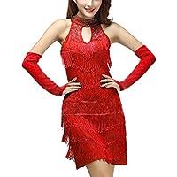 Mujer Lentejuela Funcionamiento Danza Latina Borla Ropa Vestidos Baile  Latino Salsa 1194f706004