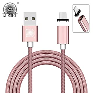 ALTech® 1 Pack Rose Gold 3.3ft 2.4A High Speed Braided USB Cord Super Magnetic Charging And Data Transfer Sync Cable,LED Display Phone Adapter For iPhone 7,7 Plus,6S,6 Plus,SE,5S,5,iPad,iPod