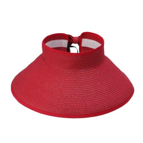 JTC Femmes Hommes Chapeau de Paille/ de Soleil Panama Plage/en Paille Sans Sommet Réglable Pliant 12 Couleurs Rouge