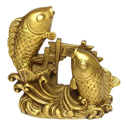 Handgemachte Chinesische Messing knochenzüngler Golden Fisch Statue Home Decor Geschenk BS054 -