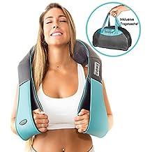 Shiatsu Nacken Massagegerät für Schulter Rücken mit Infrarot Wärmefunktion – Nackenmassagegerät mit 3D-Rotation Massageköpfen Knetmassage - Massagekissen Ganzkörper Elektrisches Massagegerät für Muskel Schmerzlinderung – Büro, Auto & Zuhause