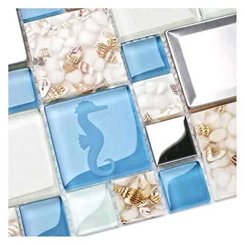 New Idea TSTNB11 Fliesen Küche Bad Backsplash Accent Wall Decor TST Glas Metall Fliese Marine Tiere Icon Beach Style Inner Conch Sea Blue Mosaic Fliesen 1 Sample 12x12 Inches