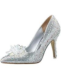 a9693c34856683 Huatime Kristall Hochzeit Brautschuhe Hochhackige - Aschenputtel  Schmetterling Diamant Mode Damen Stilett Pumps Hoher Absatz Spitze…