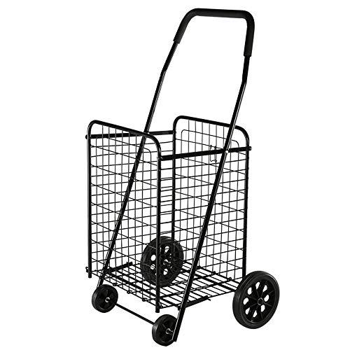 Falten Warenkorb Speichern (Aihifly-cart Stabiler Einkaufstrolley klappbar mit 4 Rad HOHE QUALITÄT EINKAUFSWAGEN WARENKORB Falten Markt WÄSCHEREI TRAGBARE Utility (Farbe : Schwarz, Größe : 44.5 * 52 * 97.5 cm))