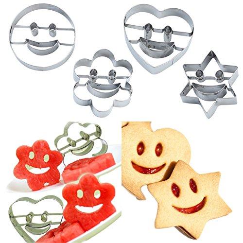 Lalang 4pcs Moules emporte-pièces moule à gâteau coupe-biscuits moule de biscuit, visage souriant