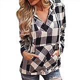 SuperSU Mode Frauen Pullover T-Shirt Hoodie Langarm Bluse Top Oberteile Elegante Retro Hemd Asymmetrisch Top Mit Kapuze Gitter Lange Ärmel Sweatshirt Casual Langarmshirt Mit Jeans