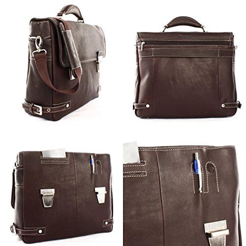 HEILEMANN große Aktentasche DIN A4 Businesstasche Lehrertasche Collegetasche Ledertasche Bürotasche für Damen & Herren aus echtem Leder 39x32x12cm HE3001 Dunkelbraun